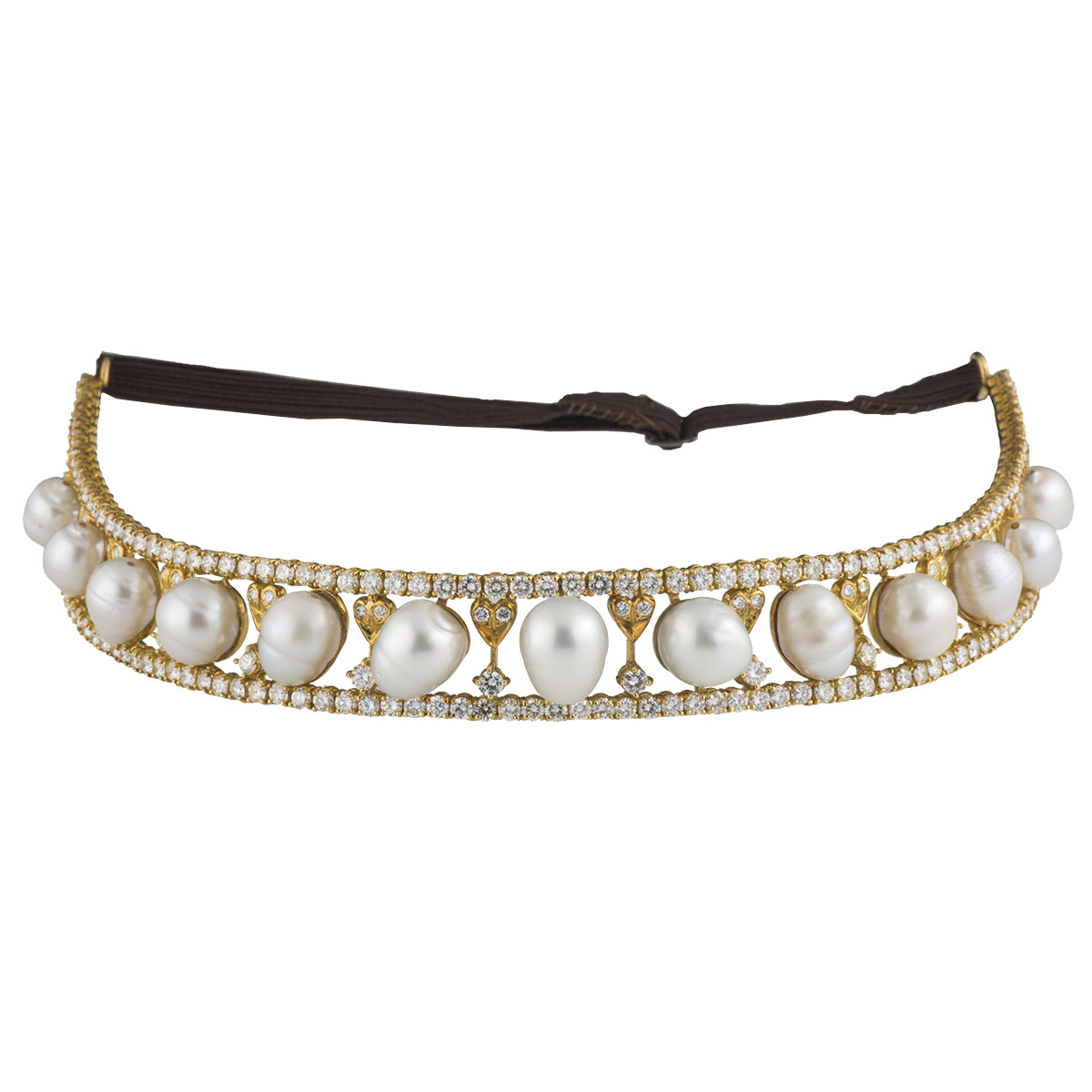 Yellow Gold Diamond and Pearl Tiara